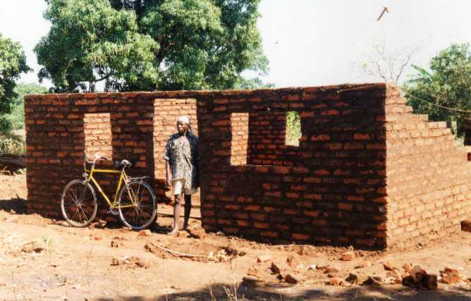 House walls of fired bricks, locally made